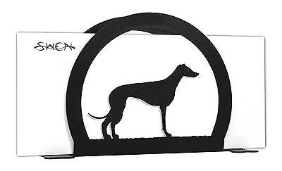 Whippet Dog Black Metal Napkin or Letter Holder *NEW*