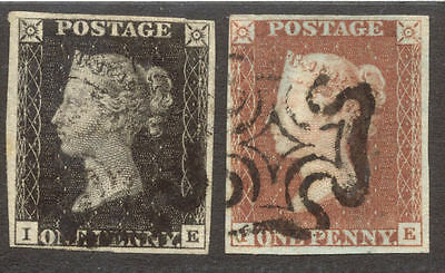 1840-1 1d Black & Red Plate 9 (IE), 4 Margin Matched Pair