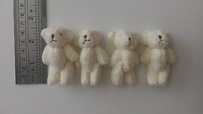 16 mini soft fluffy jointed teddies 6cm CREAM teddy bears gifts