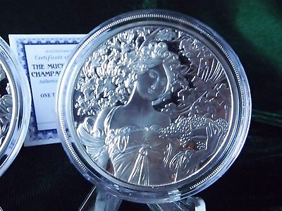 Alphonse Mucha : 4th in Series : CHAMPAGNE WHITE STAR : One Oz .999 Silver PROOF