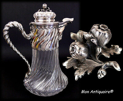 Rare Big Jug / Pitcher / Decanter Antique French Sterling Silver & Crystal Wine