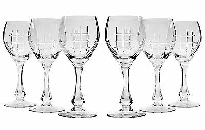 10 Oz Crystal Cut Wine Glasses on a Long Stem, Classic Wine Goblets, 6-Piece Set