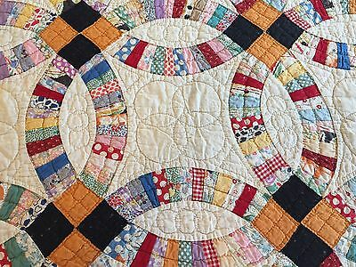 Antique Vintage Quilt Double Wedding Ring Hand-Quilting Detail 1930s 40s Fabrics