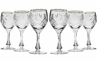 6 Oz Crystal Cut Wine Glasses on a Long Stem, Classic Wine Goblets, 6-Piece Set