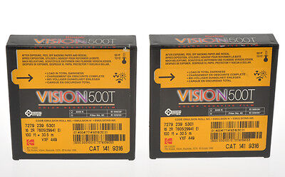 Kodak two film 16mm unopened Vision 500T color negative film, sold as is