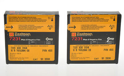 Kodak two film 16mm unopened 7231 Plus-x negative film, sold as is