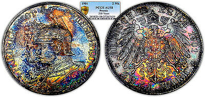 """Germany / Prussia 1901 2 Mark """"200 Years"""", PCGS AU58 Toned"""