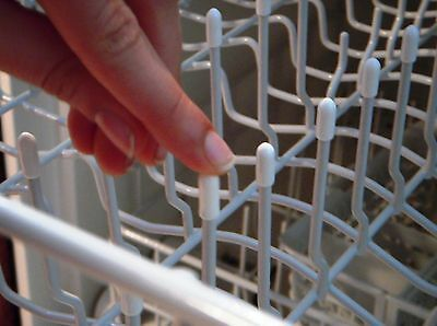 100 Universal White Dishwasher Rack Tip Tine Cover Caps   Just Push On to Repair