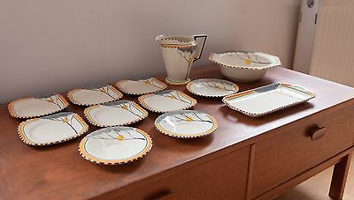 Lovely Burleigh ware 1930s Art Deco 'Zenith' collection 'Dawn' range set