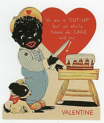 Black Americana African American Mechanical Die-Cut Valentine Card 1940