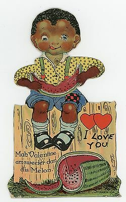 Black Americana African American Mechanical Die-Cut Valentine Card