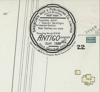 Antigo, Wisconsin~Sanborn Map© sheets~ 1889 ~~ 7 maps on CD in full color tiffs