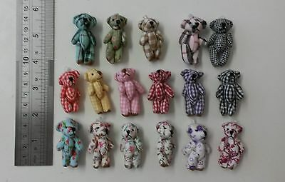 Lot of 17 mini assorted teddy bears tiny teddies gingham check floral / gifts