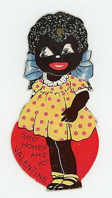 Black Americana African American Small Mechanical Valentine Card