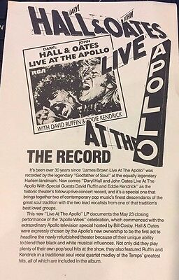 Daryl Hall John Oates Live At The Apollo record store promo, 4 pages, 1985, b/w