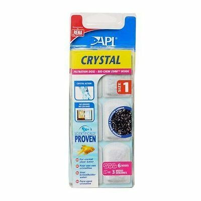 API Aquarium Pharmaceuticals Crystal Size 1 Filtration dose Pack of 6 New