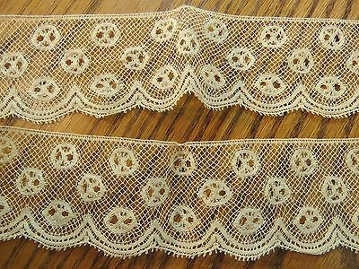 """Antique Lace Trim 36"""" x 1 3/4"""" Art Deco Yellow Edging sewing crafts scrapbooking"""