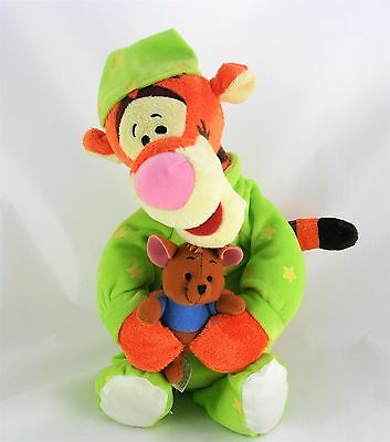 Disney Tigger Plush in Green Pyjamas with Holding Roo Girls and Boys Bedtime