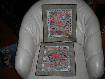 Pair Of Antique Chinese Forbidden Stitch  Silk Textile Embroideries 14X15 Each