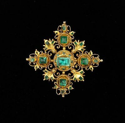 18th C Spanish Colonial / Iberian Table-cut Emerald Cross Brooch