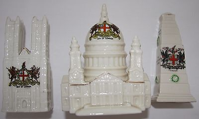 City of London crested china x 3.   St. Paul's.   Westminster Abbey.   Cenotaph.