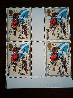 GB stamps 1983 Mint and unmounted block of 4 The Royal Scots (Royal Regiment)
