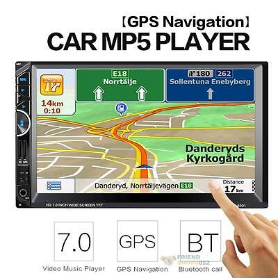 7'' Double 2DIN In Dash GPS Navi Car DVD MP5 Player Touch Bluetooth Stereo Radio