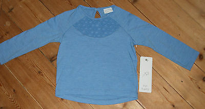 NEW mid-blue  long-sleeve top size 6 - 9 months