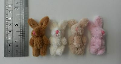 16  mini Fluffy tiny plush Bunny Rabbit brown pink cream 5.5cm gift dolls house