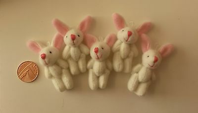 30 x cute mini 5cm bunny rabbits white pink tiny Easter bunnies crafts lot 2