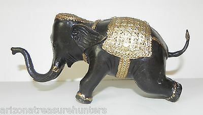 "BRONZE ELEPHANT, Gold Ormulu Saddle & Trim 7"" tall , Vintage, Mint"