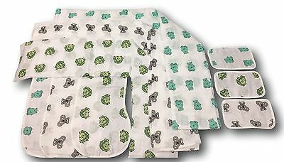 100 Sets p/ Buy- 9 pcs - Organic Muslin Baby Swaddle, Burp Bib, Washcloth