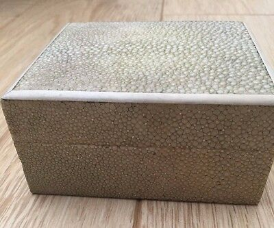Art Deco Vintage Shagreen Cigarette Box with Ivory Edging on Lid Circa 1930