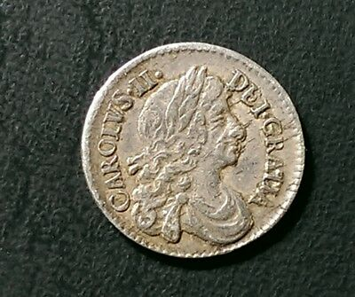 CHARLES II 1682 (2 over 1) BRITISH SILVER MAUNDY TWOPENCE