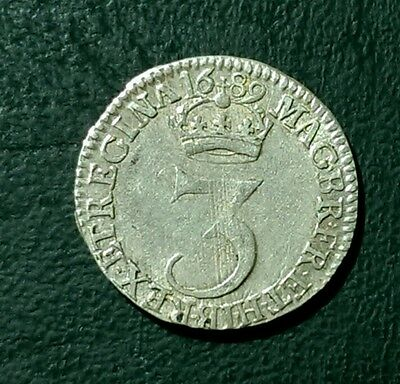 1689 WILLIAM AND MARY BRITISH SILVER MAUNDY THREEPENCE LMV over MVS
