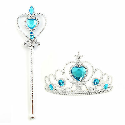 Queen Princess Cosplay Costume Crown Tiara Magic Wand Christmas Halloween Party