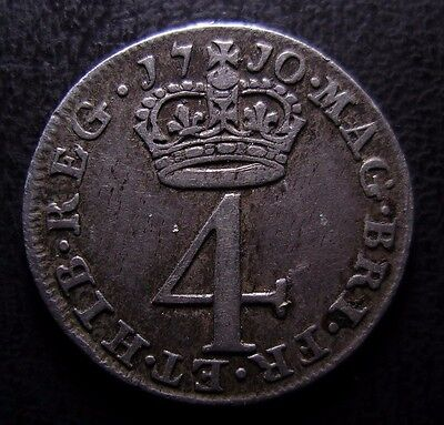 1710 Queen Anne British Silver Maundy Fourpence