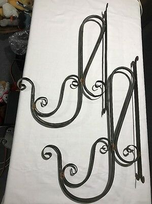 "2 Old Primitive Vintage Wrought Iron Wall Plant Holders Black Hollow Tube 25""x16"