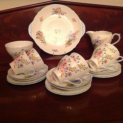 Shelley English Bone China Wild Flowers 21 Piece Tea Set