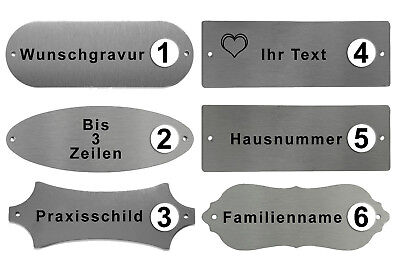 edelstahl t rschild namensschild xl mit text personalisiert gravur hausnummer eur 6 50. Black Bedroom Furniture Sets. Home Design Ideas