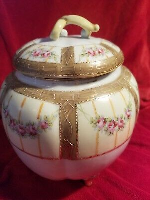 Antique footed hand painted Nippon porcelain large biscuit cracker jar