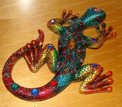 Bejeweled Blue, Orange Lizard Wall Decor (Wildlife Collection, 379)