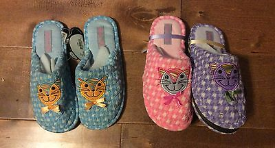 NEW! DANNY G Kids Slippers KITTY Blue Pink OR Lilac 13 -1 1.5-2.5 3-4 RARE