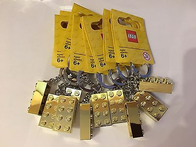 New 10 X Genuine Lego Gold 4 X 2 Brick Keyring  New Ideal For Party Bags