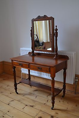 Antique Edwardian French Dressing Table With Drawers & Mirror Cherry Wood