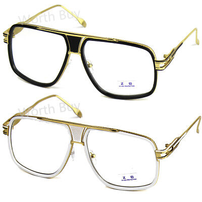 New Mens Womens DMC Square Gazelle Style Gold Clear Lens Frame Fashion Glasses