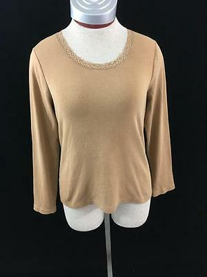 Laura Ashley knit top long sleeve Size PS brown petites womens lace small