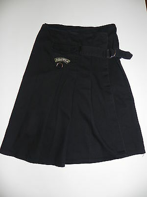 SALE - VINTAGE 90 ARMY SKIRT Black with Military Patch and Buckle Kilt Style