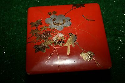 Antique vintage Japanese Lacquer Hand Painted Bird Floral Box w/lid
