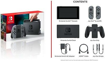 NEW NINTENDO SWITCH Gray Console (With Gray Joy-Con)
